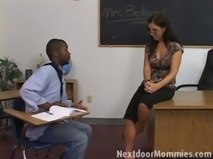 Brunette teacher seduced by black cock free