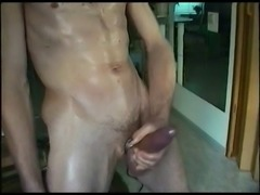 jerking-off cock cockring oil cum