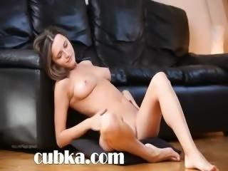 Naked girl finger for a camera