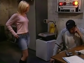 Cute blonde girl having sex at work