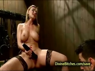 Busty perfect blond humiliates bound guy