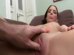 19yo babe enjoying hard cock on sofa