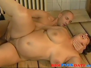 Old granny have sex with young guy and suck his and get cum all over her old...