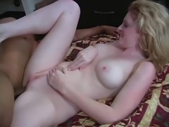 Tall blonde beauty spreads legs and plays with her wet pussy then fucks