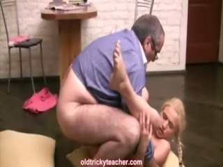 Teacher does his blonde student from behind free