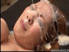Big titted Japanese MILF maximum bukkake humiliation free