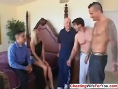 MILF fucked by three guys free