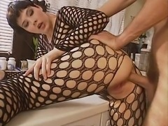 Bodystocking, anal in kitchen