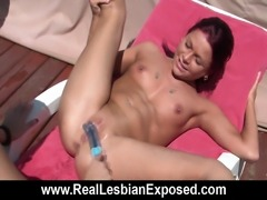 Two superb French lesbians have some great sex on the deck. They don't need...