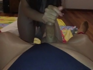Nyloncouples bondage handjob in leotard and pantyhose