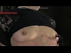 Tiedup nipple clamp slut caned by maledom