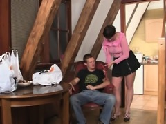 Cock-hungry mother in law rides his big dick