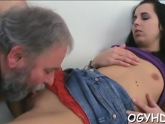Delicious young chick takes old naughty cock in her throat
