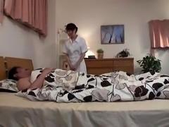 Horny Asian nurse seduces a patient to satisfy her desires