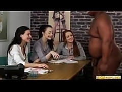 Slutty cocktugging cfnm babes jerk dick