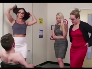 3 english ladys give boy theory test with hand job finish