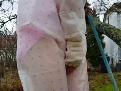 Outdoors Diaper Wetting with Transparent Rain Wear