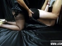 Femdom big strapon. Mistress Lusinda hard pegging guy 2