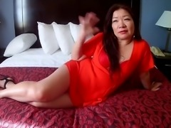 Asian with CUM on her face and lick clean