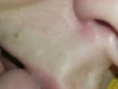 Drunk cum slut gets a mouthful and a spoonful