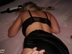 New Year Party with a Blonde Slut Horny Teen filled her Pussy
