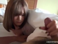 Morning blowjob from a cute Japanese college girl with sweet face
