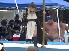 Tiny Texie the sexy Jedi has a lightsaber battle and gets completely naked