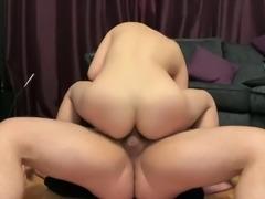 Petite Chinese girl rides white dick - hard fast anal fuck