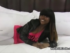 Amateur black teen with amazing tits on audition