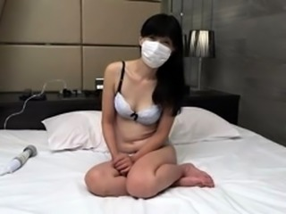 Lustful Oriental babe vibrates her pussy and sucks a cock