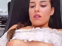 Hot spanish babe cums clothed