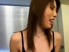 Slim Japanese babe expressing her love for wild sex action