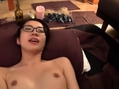 Hot busty asian milf gives blowjob