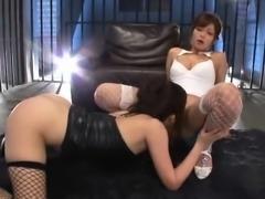 Hot lesbian threesome using huge toys