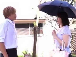 Stacked Japanese milf gets sexually fulfilled by a young guy
