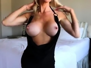 Masked blonde mom with big boobs drills her starving pussy
