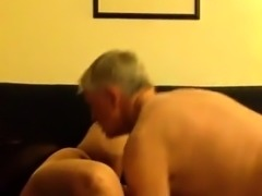 Fat mature wife sucks a dick and gets her wet pussy devoured