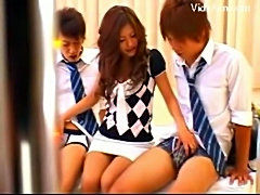 Japanese Girl Gives Blowjob to 2 Guys in Classroom free