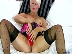 Blonde cougar dildo masturbation  free