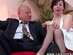 Mature lady in stockings gets hot