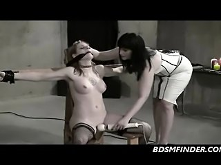 Redhead strapped down whipped and toyed from her lezdom