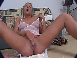 Piss Blonde pees her diaper then masturbates