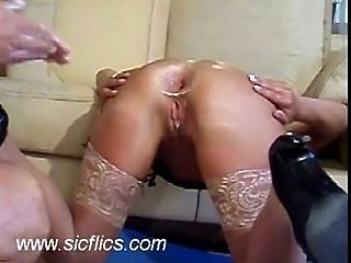 Shameless double anal fisted housewife