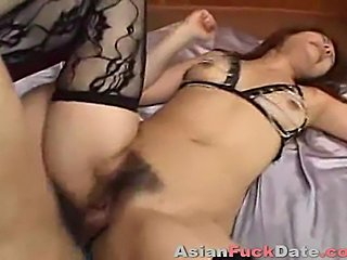 Skinny Asian hooker gets fucked deep anal