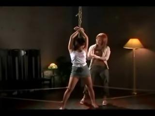 Tied lesbian Asians facial and rope shibari bondage