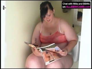 Fat  plumper milla in the bathroom free