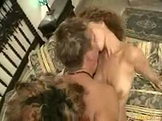Guy with 2 girls hairy pussy