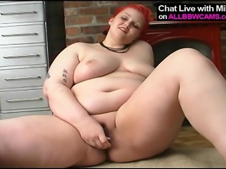 horny sexy fat BBW fucks herself 1