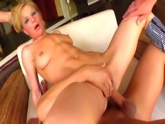 Super skinny blonde milf gets her asshole limits tested by doing rough anal...