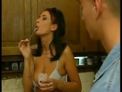 Slutty brunette housewife fucking hot young repairman